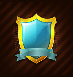 Gold security shield icon vector