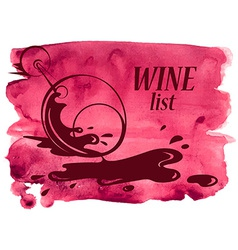 Watercolor background with wine glass vector
