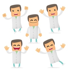 Set of funny cartoon doctor vector