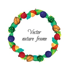 Vintage nuts berry fruits frame with leaves vector