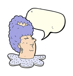 Cartoon queen head with speech bubble vector