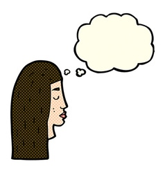 Cartoon female face profile with thought bubble vector