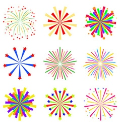 Colorful fireworks set isolated on white vector