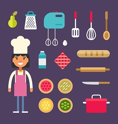 Kitchen appliances and food female cartoon vector