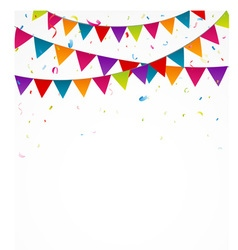 Happy birthday card with bunting flags vector