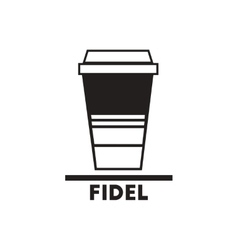 Black icon on white background fidel coffee vector