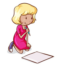 A coloured drawing of a girl reading and writing vector