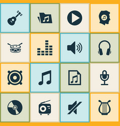 Audio icons set collection of meloman sound vector