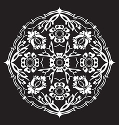 Black and white round flower abstract isolated vector image
