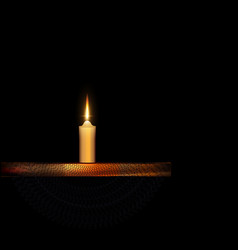 Burning candle with stand and black veil vector