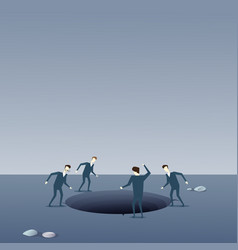business people group looking in hole fail vector image