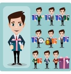 Businessman holding a big gift box set vector