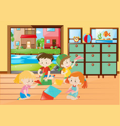 Children folding paper airplane in living room vector