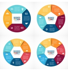 circle infographics set Template for cycle vector image vector image