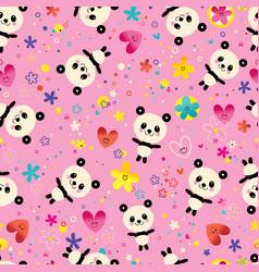 cute baby panda bears flowers seamless pattern vector image