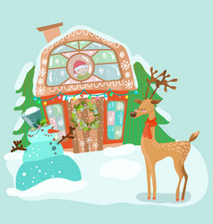 cute house with snowman and deer vector image vector image