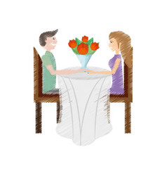 Drawing couple love sitting dinner flowers vector
