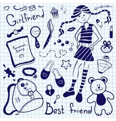 Drawing pen on notebook sheet girlfriend vector image
