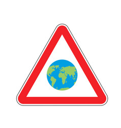 earth warning sign red planet hazard attention vector image vector image