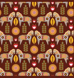 Folk seamless pattern in scandinavian style vector