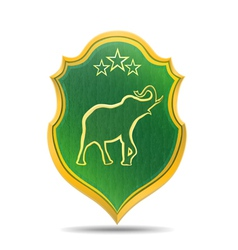 Golden elephant logo vector image