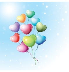 Heart shaped colorful balloons vector image vector image