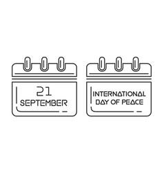 international day of peace wall calendar vector image vector image