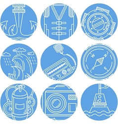 Marine elements round icons set vector image
