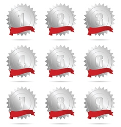 Ribbon silver and red with numbers vector
