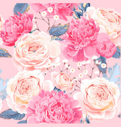 Seamless pattern with peonies and roses vector