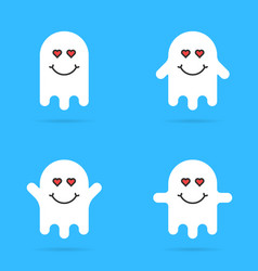 set of white enamored ghost emoji vector image