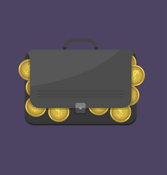 Suitcase with euro coins vector