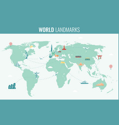 Travel and tourism infographic set with world map vector