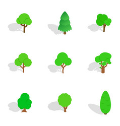 Trees icons isometric 3d style vector
