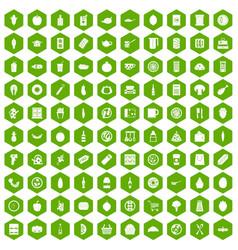 100 lunch icons hexagon green vector
