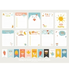Cute cards notes stickers vector