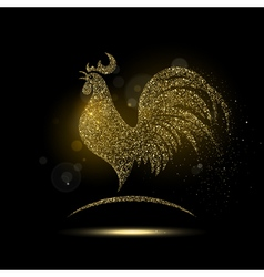 Shiny golden rooster vector