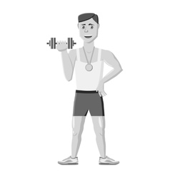 Athlete icon gray monochrome style vector