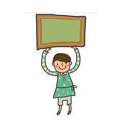Close-up of boy holding board vector image