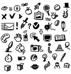 Hand drawing sketch icon set of different objects vector