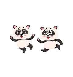 two cute funny baby panda characters running vector image