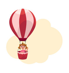 Little girl with ponytails flying in hot air vector