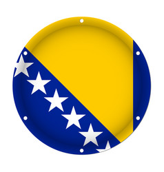 Round metal flag-bosnia and herzegovina with holes vector