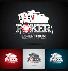 Poker logo design template with gambling elements vector