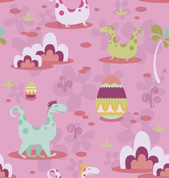 Dinosaurs and eggs seamless print vector