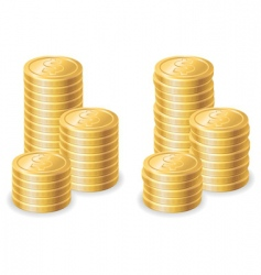 Gold dollar coins vector