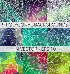 Set of 9 abstract triangle polygonal backgrounds vector