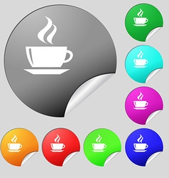 Tea coffee icon sign set of eight multi colored vector