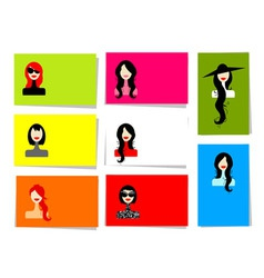 womans portraits cards vector image