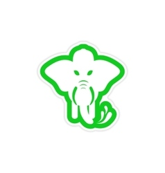 stylish paper sticker on white background elephant vector image